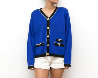 80s Blue Cardigan / Varsity Knit Cardigan / Gold Button Up Royal Blue Sweater / Color Block 80s Knit Pocket Vneck Shoulder Pads Large