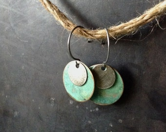 Brass Patina Coin Earrings