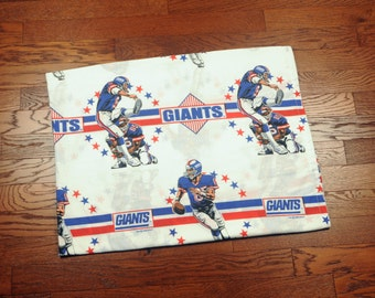 vintage 90s New York Giants bed sheet NFL football red white blue 1992 NY Giants G-men fabric material twin flat sheet