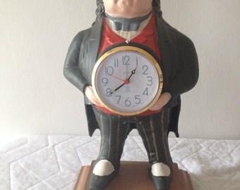 Vintage John Bull Cast Iron Clock Figural Time Keeper Comedic Decor Political Memorabilia