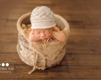 newborn photo prop, beige beanie newborn/ baby hat with a cable pattern, newborn props, newborn girl,newborn boy hat, baby knit hat, knits