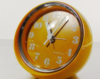 Space Age Clock, Vintage Alarm Clock by Caravelle from Bulova, Wind Up Table clock.