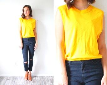 Vintage retro SMALL yellow tank top // boho tank top // retro tank top // bright yellow tank top // cropped top / crop tank top shirt blouse