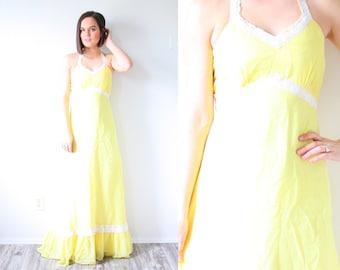 Vintage BOHO 1960's yellow polka dot dress // maxi summer dress // lace ruffle dress // sweetheart neckline / halter dress / bohemian summer