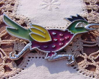 Vintage Brooch with Textured Silver Tone Enamel Colorful Roadrunner Brooch