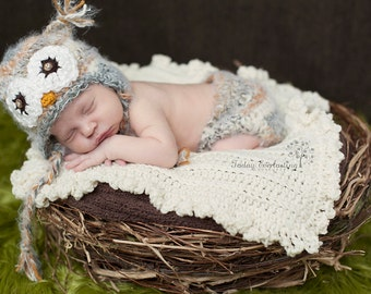 Baby Owl Crochet Hat and Diaper Cover--2 piece matching set--Fuzzy Newborn Photo Prop