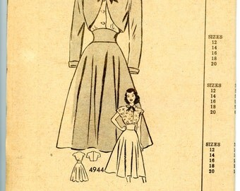 1940s Anne Adams Mail Order Bolero Jacket, Skirt, and Blouse Sewing Pattern 4944, Size 14, Bust 32, Factory Folded