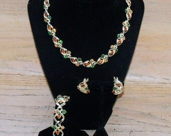 Necklace Earrings Bracelet Set Signed Coro Pegasus Green Orange Amber Rhinestones Gold Tone Vintage Jewelry Jewellery