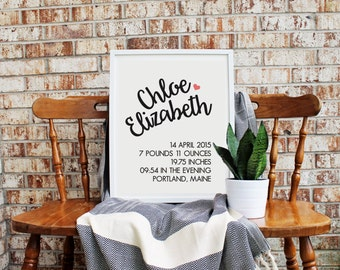 Customizable Birth Poster *FREE domestic SHIPPING*