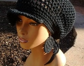MADE TO ORDER Black Slouch hat/Tam/Dreadlock hat with brim and drawstring free crochet earrings/ Adjustable 100% Cotton