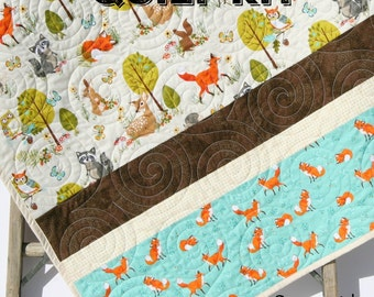 Woodland Quilt Kit, DIY Project, Easy Beginner, Striped Pattern, Modern Quilt Kit, Boy or Girl, Fox Squirrel Deer Owl Animals, Brown Teal
