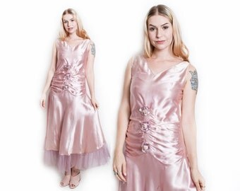Vintage 20s Dress - Blush Pink Satin Flower Party Flapper Gown 1920s - Small