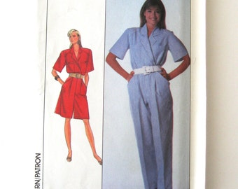 1980s Jumpsuit Romper Pattern Simplicity 9021 Womens Surplice Pantdress Sewing Pattern Concealed Opening Short Sleeves Size 14 Bust 36 UNCUT