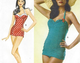 Womens Retro Bombshell Swimsuits Butterick Sewing Pattern B6067 Size 14 16 18 20 22 Bust 36 38 40 42 44 UnCut Ruched Bathing Suits