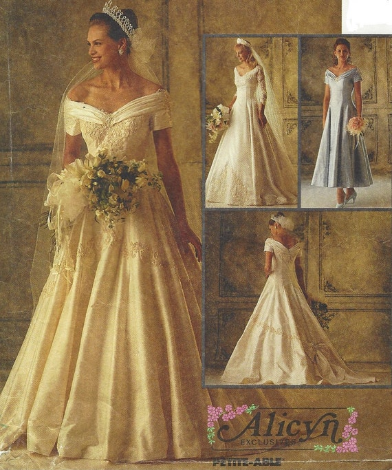 Vintage Wedding Dress 90s: 90s Alicyn Exclusives Womens Off The Shoulder Wedding Gown