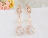 Rose Gold Bridal Earrings, Wedding Earrings, Swarovski Pearl Earrings, Crystal Leaf Dangle Drop Earrings, Teardrop Earrings, AUGUSTINA