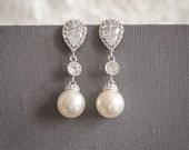 Bridal Earrings, Crystal Wedding Earrings, Swarovski Pearl Drop Bridal Earrings, Zirconia Dangle Stud Earrings, Bridal Wedding Jewelry, EVA