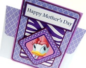 Purple Daisy Duck- Mother's Day Card with Matching Embellished Envelope