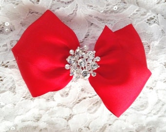 Red Satin Hair Bow,  Red Flower Girl Hair Bows, Hair Bow, Pageant Hair Bow, with Rhinestone Center, Christmas Hair bows