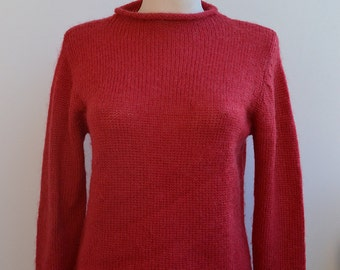Knitted red  beautiful blouse sweater