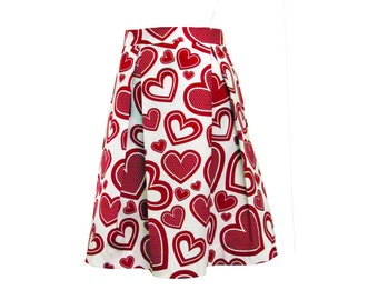 Falling Hearts Pleated Skirt Size Extra Small 2 4  Ready to Ship Valentine Skirt