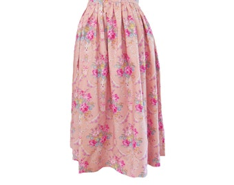 Floral Blush Pink Full Gathered Midi Skirt Size Extra Small 2 4  Ready to Ship