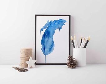 Lake Michigan in Blue, Lake Michigan art, Lake Michigan decor, Lake Michigan print, Lake Michigan, Great Lakes art, Great Lakes, Big Lake