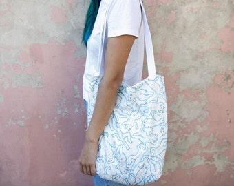Sexy cat printed tote bag