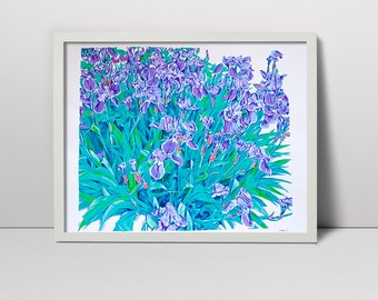 Handmade screen print painting Iris flowers bed serigraph screenprint original fine art floral flower spring decor artwork flowering purple