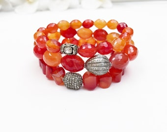 Beautiful Carnelian Faceted Beads with Pave Diamond Beads Bracelet