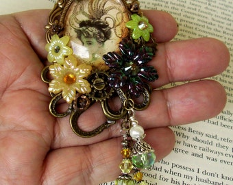 Victorian Brooch (P620) Victorian Octopus Girl Image Under Glass Cameo, Acrylic Florals, Swarovski Crystals, Brass Tray, Crystal Dangles