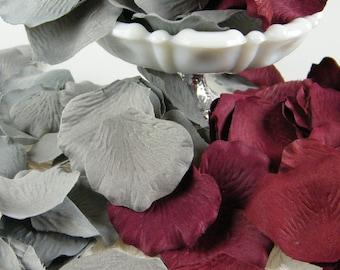 500 Grey and Burgundy Deep Red Rose Petals Artificial Petals - Wedding Decoration Flower Girl basket Petals - Burgundy and Grey