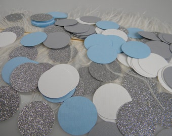Confetti Light Blue Silver White Grey Party Decoration  ONEderland Party / Wedding or Baptism Table Decoration / Baby Boy Shower Decoration/