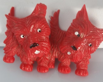 Vintage Celluloid Articulated Scottie Dog Brooch Pin