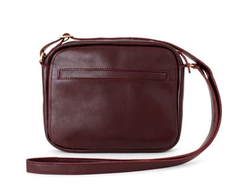 Medium Crossbody Zip Bag Bordeaux, Zippered leather purse, marsala shoulder bag