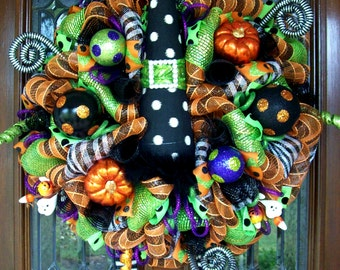 Whimsical Halloween Polka Dot Witch Hat and Boots Wreath