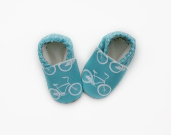 Bike Baby Shoes in Teal- Eco Friendly Unisex Cruiser Bike - Bicycle Slippers 0 3 6 12 18 months - Baby Clothes Gift for Baby