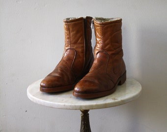 Boots Fleece Ankle - 8.5 9 Women's - Winter Leather Brown - 1980s Vintage