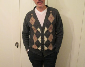 Vintage Men Shetland Wool Cardigan Size Medium / Argyle Gray Cardigan Scotland