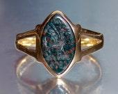 Antique Victorian DRAGON & 1874 Date Bloodstone Intaglio Wax Seal Ring 15K