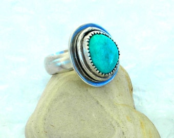 Turquoise Sterling Statement Ring, Native American West Turquoise, Robins Egg Blue Nevada Stone, Hand Made, December Birthstone,