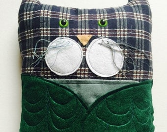SALE! Owl-Cat Pillow - Owl Pillow - Owl Decor - Cat Pillow - Funny Pillows - Handmade Pillow - Funny Cat - woodland nursery decor - oddball