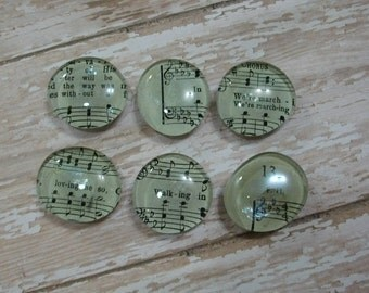 Glass Fridge Magnets with Hymnal Music Pages / Large Magnets / Refrigerator Magnet Set