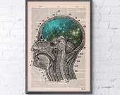 A4 size Art Print Cosmic Brain collage Printed on Vintage Dictionary Book page. Wall decor art, Anatomy decor, Galaxy print art BPSK112