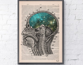 Summer Sale Print Cosmic Brain collage Printed on Vintage Dictionary Book page. Wall decor art,decor, Galaxy print art SKA112