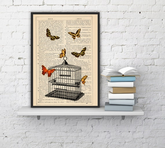 Spring Sale Spring Sale Release the Butterflies n03 Cage collage Print on Vintage Dictionary  page - book art print BPBB015