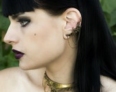 Dragon Ear Cuff - Bronze Cartilage Earring - Gothic Earrings - Unique Earcuffs - Ear Cuff with Chains - Dragon Collection