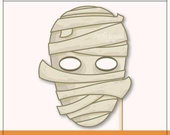 DIY Mummy Mask Prop | Halloween Printable Prop | DIY Props | Instant Download | Photo-Booth Clipart
