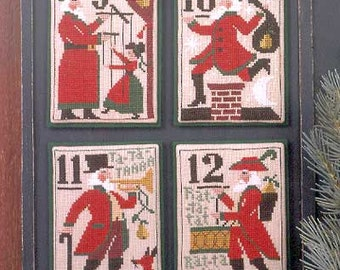 Santa's 12 Days of Christmas 9-12 Book No. 127 : cross stitch patterns Prairie Schooler December Winter holidays Santa Claus hand embroidery