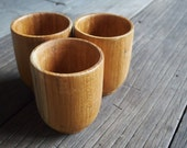 Set of 3 Special Quality Teak Wooden Tea Sake Cup Japanese Style Classic Plain Designs